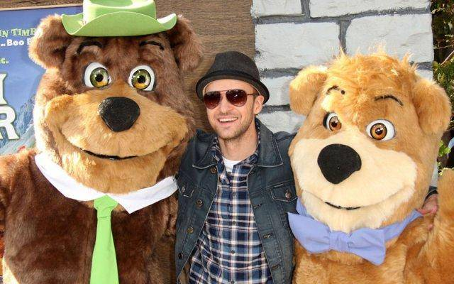 Justin Timberlake with fellow EMA award winners, Yogi Bear and Boo-Boo.